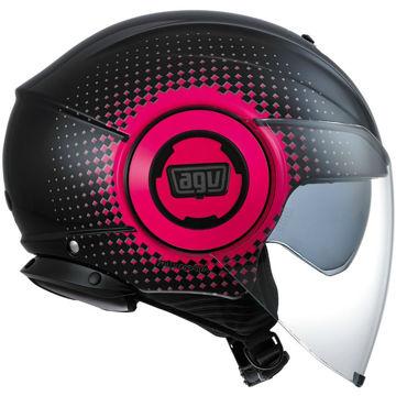 Resim AGV Fluid Pix Yarım Motosiklet Kaskı Siyah Fuşya