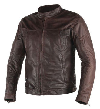 Resim Dainese Heston Deri Motosiklet Ceketi Koyu Kahverengi
