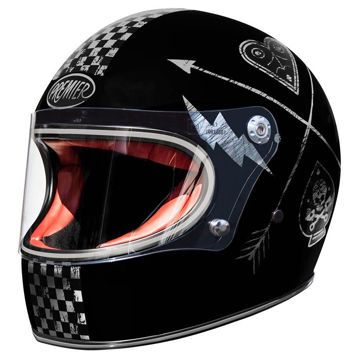 Resim Premier Trophy NX Silver Chromed Kapalı Motosiklet Kaskı Siyah Gri