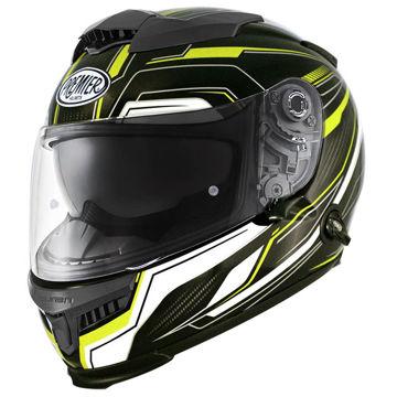 Resim Premier Touran Kapalı Motosiklet Kaskı Parlak Siyah Sarı