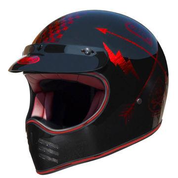 Resim Premier MX NX Kapalı Chrome Motosiklet Kaskı Kırmızı