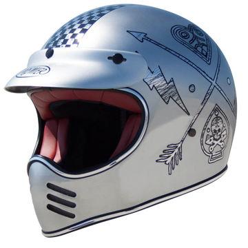 Resim Premier MX NX Kapalı Chrome Motosiklet Kaskı Gri