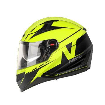 Resim Nitro N2200 Güneş Camlı Kapalı Motosiklet Kaskı 42 Sarı Neon Siyah