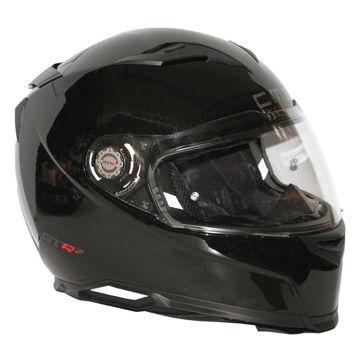 Resim CMS GTRS 3 Parlak Siyah Kapalı Motosiklet Kaskı