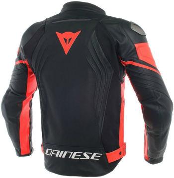 Resim Dainese Racing 3 Deri Motosiklet Ceketi Neon Kırmızı