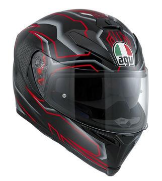 Resim AGV K5 Deep Kapalı Motosiklet Kaskı Siyah Kırmızı