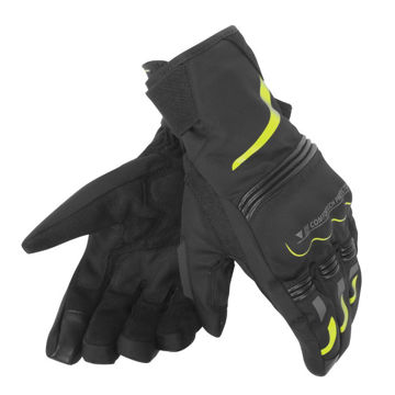 Resim Dainese Tempest Unisex D-Dry Motosiklet Eldiveni Kısa Siyah Sarı