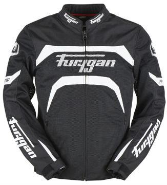 Resim Furygan Arrow Vented Fileli Yazlık Motosiklet Ceketi Siyah Beyaz