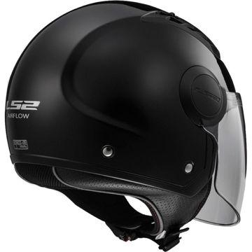 Resim LS2 OF562 Airflow Yarım Motosiklet Kaskı Parlak Siyah