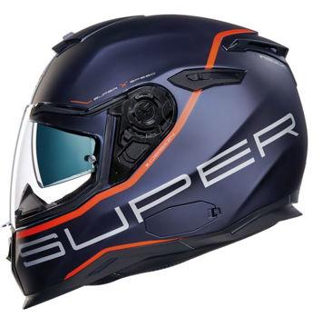 Resim NEXX SX100 Superspeed Kapalı Motosiklet Kaskı Mat Mavi Kırmızı