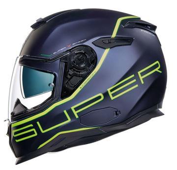 Resim NEXX SX100 Superspeed Kapalı Motosiklet Kaskı Mat Mavi Sarı