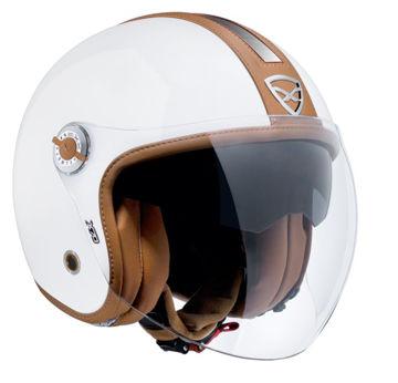 Resim NEXX X70 Groovy Yarım Motosiklet Kaskı Beyaz Camel