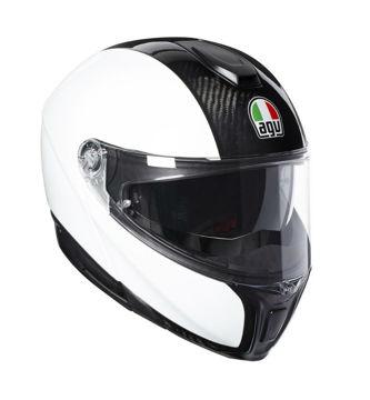 Resim Agv Sportmodular PLK Karbon Beyaz Çeneden Açılır Motosiklet Kaskı