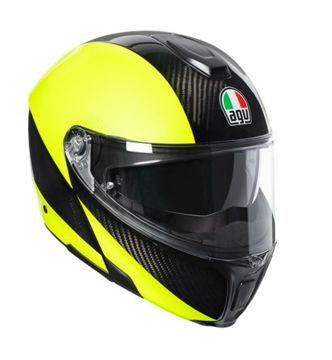 Resim Agv Sportmodular PLK Karbon Sarı Çeneden Açılır Motosiklet Kaskı