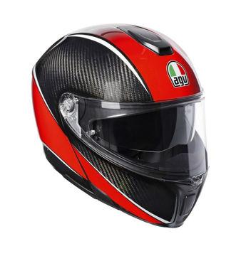 Resim Agv Sportmodular Multi PLK Aero Karbon Kırmızı Çeneden Açılır Motosiklet Kaskı