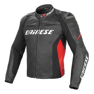 Resim Dainese Racing D1 Perforeli Deri Motosiklet Ceketi Siyah Kırmızı