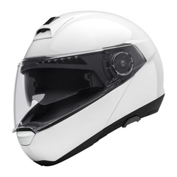 Resim Schuberth C4 Çeneden Açılır Motosiklet Kaskı Parlak Beyaz