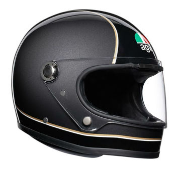 Resim AGV X3000 Multi Super Retro Kapalı Motosiklet Kaskı Siyah Gri