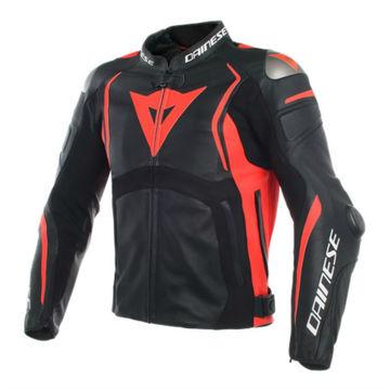 Resim Dainese Mugello Deri Motosiklet Ceketi Siyah Neon Kırmızı