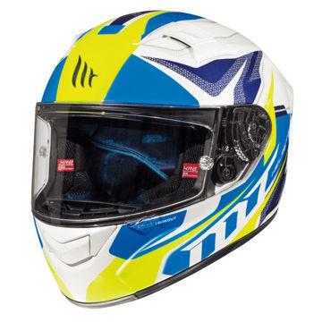 Resim MT Kask KRE Lookout G6 Kapalı Motosiklet Kaskı Mavi Beyaz Sarı