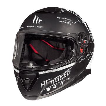 Resim MT Kask Thunder 3 Board Kapalı Motosiklet Kaskı Mat Siyah Beyaz