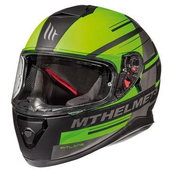 Resim MT Kask Thunder 3 Pitlane C6 Kapalı Motosiklet Kaskı Mat Siyah Yeşil