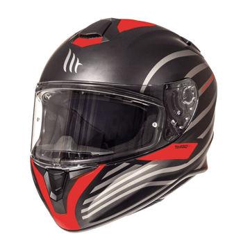 Resim MT Kask Targo Doppler Kapalı Motosiklet Kaskı Mat Siyah Kırmızı