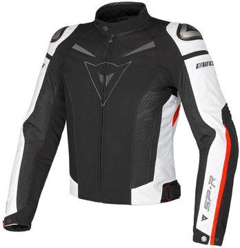 Resim Dainese Super Speed Tex Yazlık Motosiklet Ceketi Siyah Beyaz Kırmızı