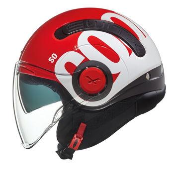 Resim NEXX SX.10 Cooljam Yarım Motosiklet Kaskı Kırmızı Beyaz