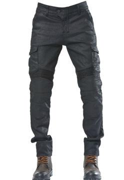 Resim The Biker Jeans Black Iron Flexi Kot Motosiklet Pantolonu Siyah