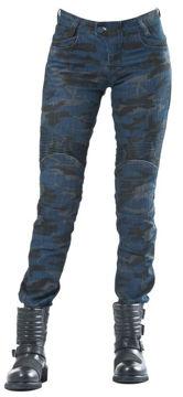 Resim The Biker Jeans Dark Blue Camo Flexi Kadın Motosiklet Pantolonu