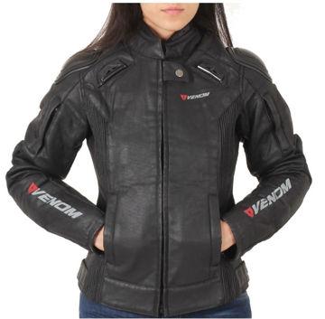 Resim Venom D2 Racing Kadın Motosiklet Montu Siyah