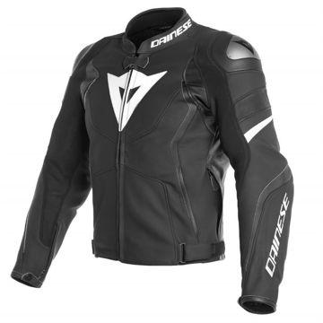 Resim Dainese Avro D4 Deri Motosiklet Ceketi Siyah Beyaz