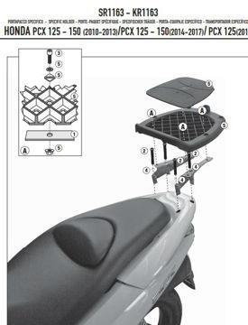 Resim Kappa KR1163 Honda PCX 125-150 10-19 Arka Çanta Taşıyıcı