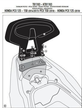 Resim Kappa KTB1163 Honda PCX 125-150 14-19 Sissybar