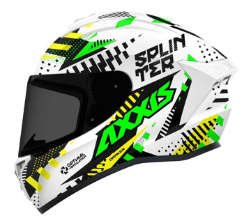 Resim Axxis Kask Draken Splinter Motosiklet Kaskı Yeşil Beyaz Neon