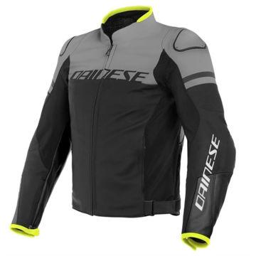 Resim Dainese Agile Deri Motosiklet Ceketi Mat Siyah Gri Sarı