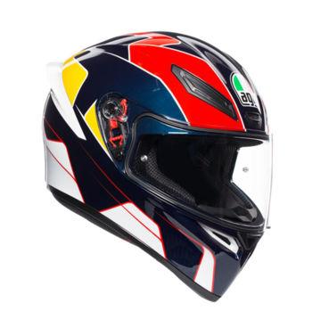 Resim Agv K1 Multi Pitlane Kapalı Motosiklet Kaskı Mavi Kırmızı Sarı