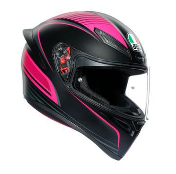 Resim Agv K1 Multi Warmup Kapalı Motosiklet Kaskı Siyah Pembe