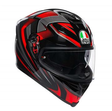 Resim Agv K5 S Multi Hurricane 2.0 Kapalı Motosiklet Kaskı Siyah Kırmızı