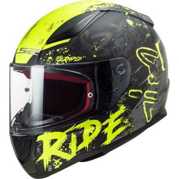 Resim LS2 FF353 Rapid Naughty Motosiklet Kaskı Mat Siyah Neon Sarı