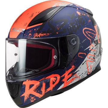 Resim LS2 FF353 Rapid Naughty Motosiklet Kaskı Mat Mavi Turuncu