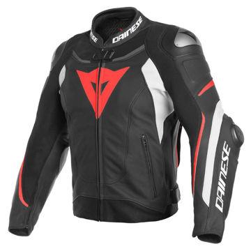Resim Dainese Super Speed 3 Deri Yarış Ceketi Siyah Kırmızı Beyaz