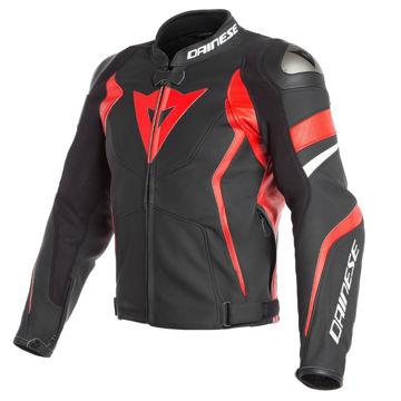 Resim Dainese Avro D4 Deri Motosiklet Ceketi Siyah Kırmızı